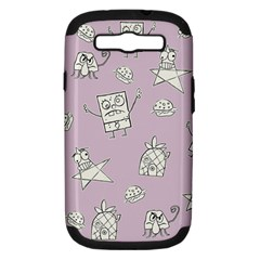 Doodle Bob Pattern Samsung Galaxy S Iii Hardshell Case (pc+silicone)
