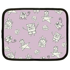 Doodle Bob Pattern Netbook Case (large) by Valentinaart