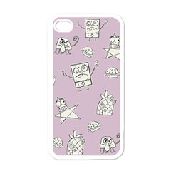 Doodle Bob Pattern Apple Iphone 4 Case (white) by Valentinaart