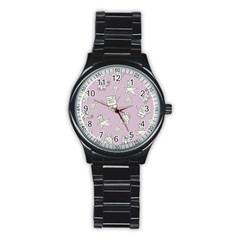 Doodle Bob Pattern Stainless Steel Round Watch
