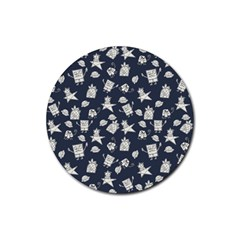 Doodle Bob Pattern Rubber Coaster (round)