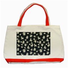 Doodle Bob Pattern Classic Tote Bag (red)