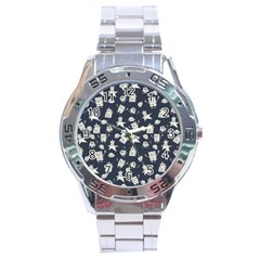 Doodle Bob Pattern Stainless Steel Analogue Watch