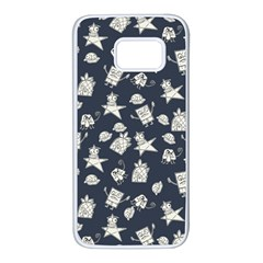 Doodle Bob Pattern Samsung Galaxy S7 White Seamless Case