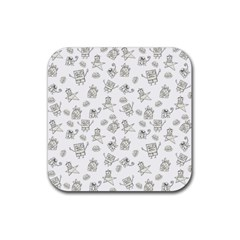 Doodle Bob Pattern Rubber Square Coaster (4 Pack)