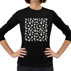 Doodle Bob Pattern Women s Long Sleeve Dark T Shirt