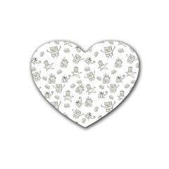 Doodle Bob Pattern Heart Coaster (4 Pack)