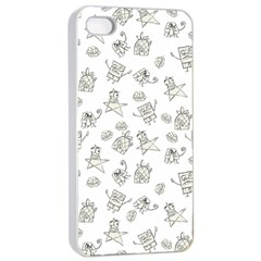 Doodle Bob Pattern Apple Iphone 4/4s Seamless Case (white)