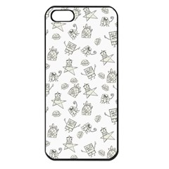 Doodle Bob Pattern Apple Iphone 5 Seamless Case (black)