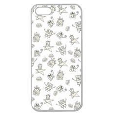 Doodle Bob Pattern Apple Seamless Iphone 5 Case (clear)