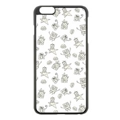 Doodle Bob Pattern Apple Iphone 6 Plus/6s Plus Black Enamel Case