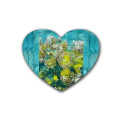 Bloom In Vintage Ornate Style Rubber Coaster (heart)