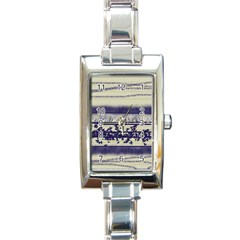 Abstract Beige Blue Lines Rectangle Italian Charm Watch