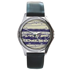 Abstract Beige Blue Lines Round Metal Watch