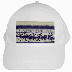 Abstract Beige Blue Lines White Cap