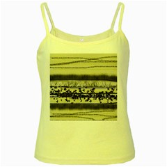 Abstract Beige Blue Lines Yellow Spaghetti Tank