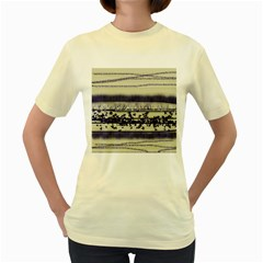 Abstract Beige Blue Lines Women s Yellow T Shirt