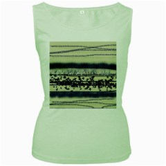 Abstract Beige Blue Lines Women s Green Tank Top