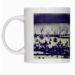 Abstract Beige Blue Lines White Mugs