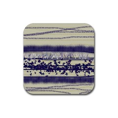 Abstract Beige Blue Lines Rubber Coaster (square)