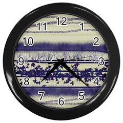 Abstract Beige Blue Lines Wall Clock (black)