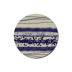 Abstract Beige Blue Lines Rubber Round Coaster (4 Pack)