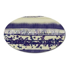 Abstract Beige Blue Lines Oval Magnet