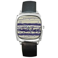 Abstract Beige Blue Lines Square Metal Watch
