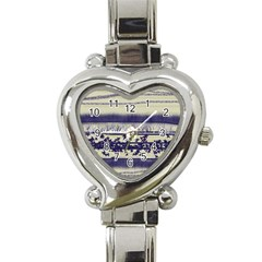 Abstract Beige Blue Lines Heart Italian Charm Watch