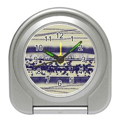Abstract Beige Blue Lines Travel Alarm Clock