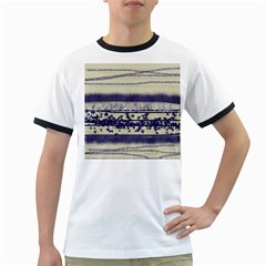 Abstract Beige Blue Lines Ringer T