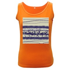 Abstract Beige Blue Lines Women s Dark Tank Top