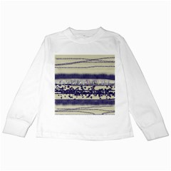 Abstract Beige Blue Lines Kids Long Sleeve T Shirts