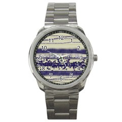 Abstract Beige Blue Lines Sport Metal Watch