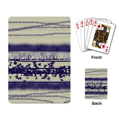 Abstract Beige Blue Lines Playing Cards Single Design