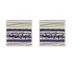 Abstract Beige Blue Lines Cufflinks (square)
