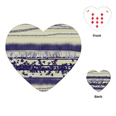 Abstract Beige Blue Lines Playing Cards (heart)
