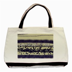 Abstract Beige Blue Lines Basic Tote Bag