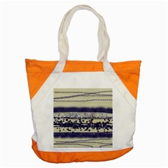 Abstract Beige Blue Lines Accent Tote Bag