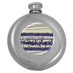 Abstract Beige Blue Lines Round Hip Flask (5 Oz)