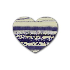 Abstract Beige Blue Lines Rubber Coaster (heart)