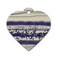 Abstract Beige Blue Lines Dog Tag Heart (two Sides)
