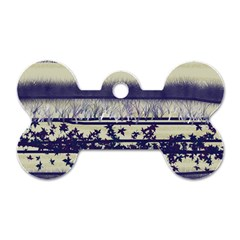 Abstract Beige Blue Lines Dog Tag Bone (two Sides)