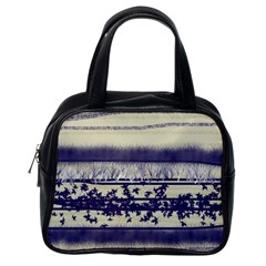 Abstract Beige Blue Lines Classic Handbag (one Side)