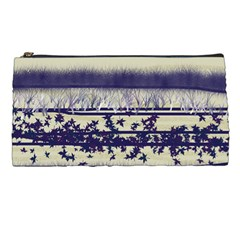 Abstract Beige Blue Lines Pencil Cases