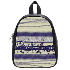 Abstract Beige Blue Lines School Bag (small)
