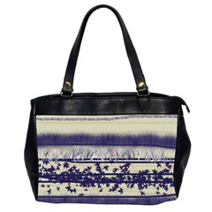 Abstract Beige Blue Lines Oversize Office Handbag (2 Sides)