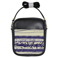 Abstract Beige Blue Lines Girls Sling Bag