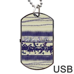 Abstract Beige Blue Lines Dog Tag Usb Flash (one Side)
