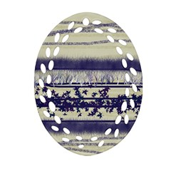 Abstract Beige Blue Lines Ornament (oval Filigree)